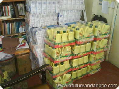 stack of flour and oil