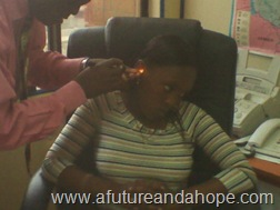 Joyce at the Audiologists