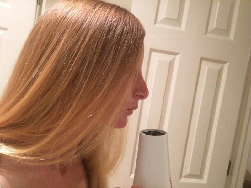 Kate and hair dryer